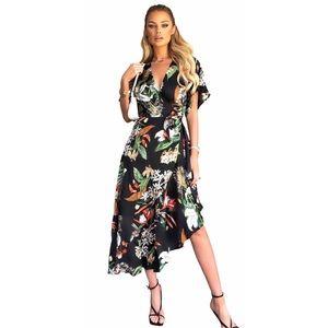AX Paris | Floral Black Ruffle Wrap Dress 14 NWT